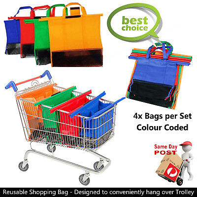 Trolley Bags Express Vibe - Set of 4 Reusable Supermarket Shopping cart Bags