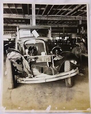 VINTAGE 1934 PHOTO AND Negative Chevrolet Chevy Car Accident FRESNO County  CA