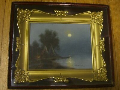 Teepees, William H. Chandler (1854-1928) Org.Pastel, Gilt Frame,Shadow Box c1900