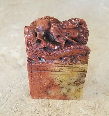 Rare Chinese Twin Dragon Red Yellow Hardstone Seal Stamp Hand Carved Antique