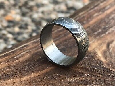 HUNTEX Unique Custom Damascus Steel Ring Size 6.5 Unisex Jewellery Gift