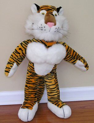 Vintage EXXON Mobil 2 FOOT TIGER Standing Plush Stuffed Advertising Collectible