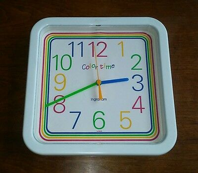 Vintage 1980's Ingraham Colortime Wall Clock USA Pop Culture RARE Swatch