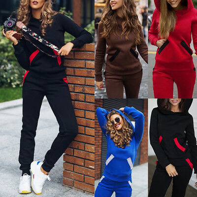Women's Clothing Energetic Ladies Jogger Camouflage Trim Hooded Cropped Lounge Suit Tracksuit Set Jumper 14