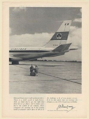 1962 Aer Lingus Irish Airlines Jet Little Boy and Girl Travelers Print Ad