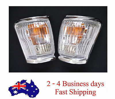 Chrome Front Corner Indicator Lights Lamps Pair For Toyota Hilux Ln167 98-04 99