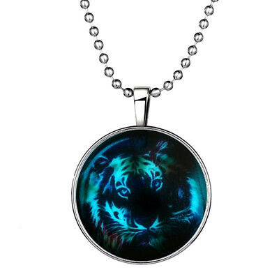 New Men Fairy Cool Tiger Glow in the Dark Stainless Steel Pendant Necklace