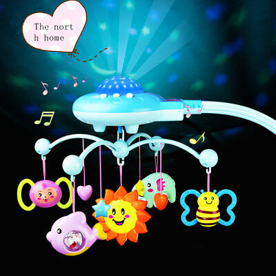 Baby Musical Crib Bed Cot Mobile Planes Light Nursery Lullaby Toy with Remote BH