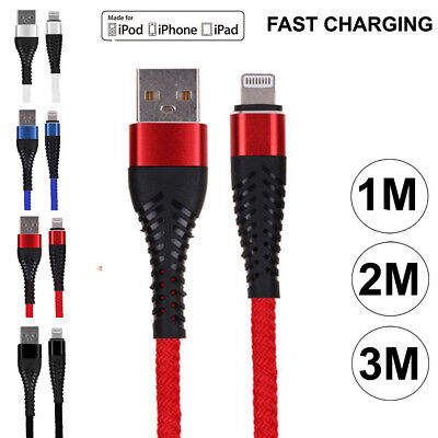 Heavy Duty Metal Braided Long USB Cable Charger Lead for iPhone 6 7 8 x iPad Air