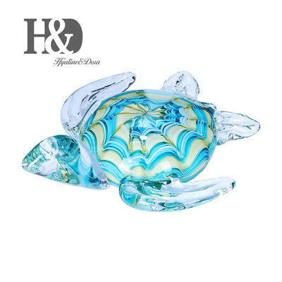 Sea Blue Glass Turtle Paperweight Crystal Art Glass Decor Boxed Valentine Gifts