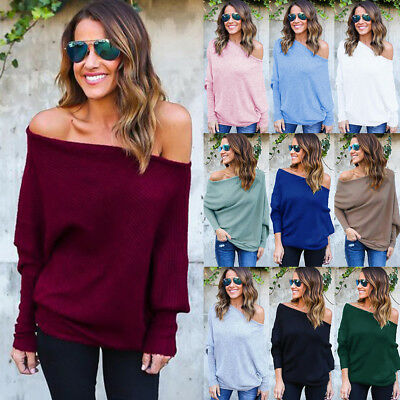 UK Women Off Shoulder Baggy Ladies Pullover Top Knitted Oversized Sweater Jumper