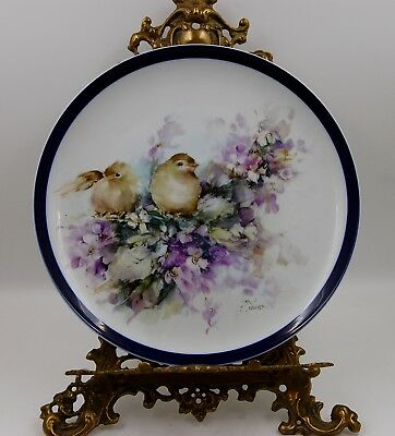 Antique  Limoges France Hand Painted Game Bird Plaque ~ Plate ~ Platter ~ Tray