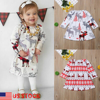 US Princess Toddler Girls Clothes Baby Party Wedding Christmas Deer Print Dress