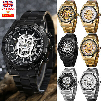 Mens Luxury Skeleton Stainless Steel Watch Automatic Mechanical Dial Wrist Watch