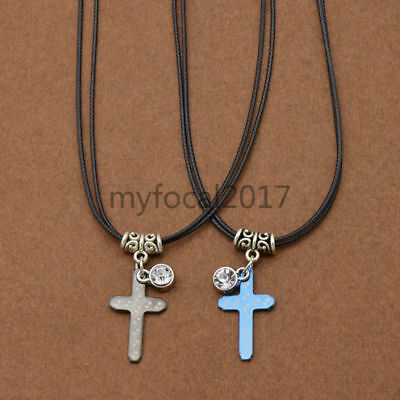 Couple Corss Necklace Pendant Black Leather Strap Jewelry  Gift Stainless Steel