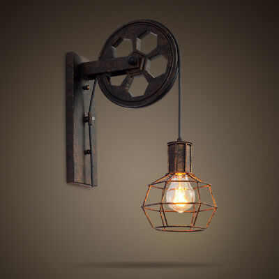 Industrial Vintage Retro Light Wall Single Sconce Lamp Lift Pulley Aisle Fixture