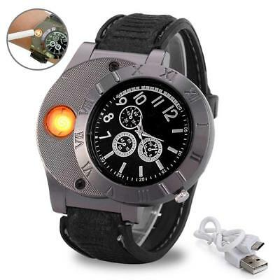 Mens Lighter Watch USB Cigarette Rechargeable Windproof Cigarette Lighter