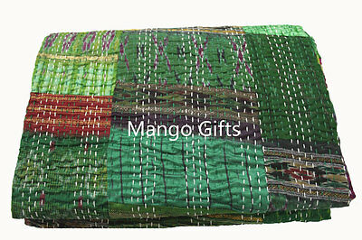 Indian Ralli Handmade Patchwork Silk Kantha Bed Throw Quilt Size 60*90 inches