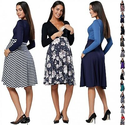 Chelsea Clark. Women's Maternity Knee Length Dress V-Neckline Side Pockets.614p