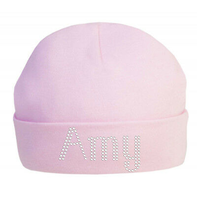 Personalised Baby Cotton Hat in Crystals 100% Cotton super soft newborn hat Xmas