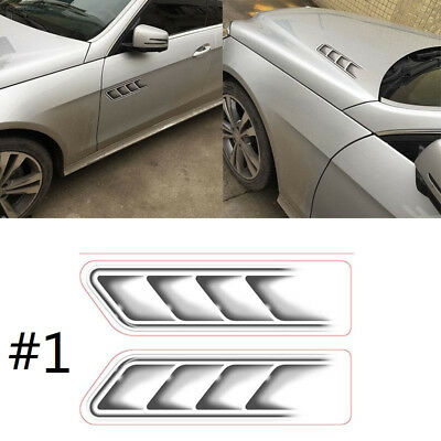 142F Auto Car Vehicle 3D Fake Side Air Vents Outlet Decorative Stickers Decals S