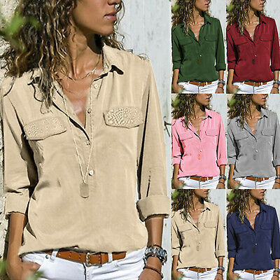 Womens Long Sleeve Tops Shirt Ladies Button V Neck Office Work Blouse Plus Size