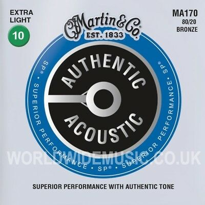 Martin MA170 Authentic Acoustic Guitar Strings 80/20 Bronze Extra Light 10 - 47