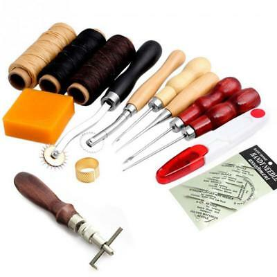 14Pcs Leder Werkzeug Leather Craft Hand Sewing Stitching Groover Tool Kit Set  W