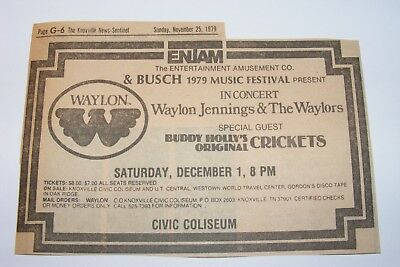Vtg 1979 Waylon Jennings Buddy Holly's Crickets Newspaper Ad Knoxville Tennessee