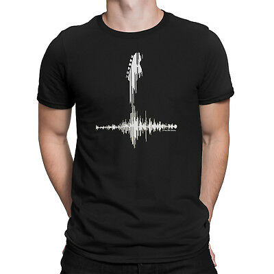 Mens WHITE GUITAR FREQUENCY Music T-Shirt Electric Acoustic Bass Guitarist