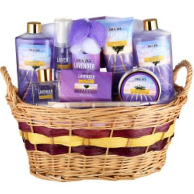 Draizee Luxury Spa Gift Basket 10-Piece Relaxing Lavender Deluxe Bath Gift Set