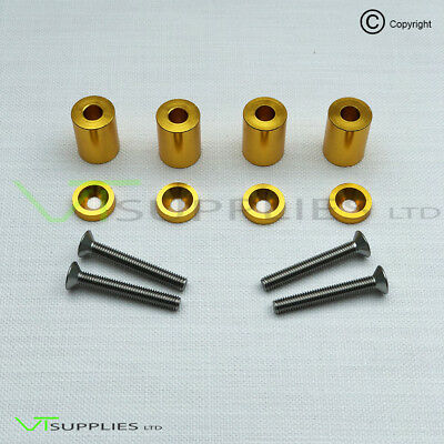 Gold Universal Bonnet Hood Vent Billet Aluminium Spacer Riser Kit Drift Racing
