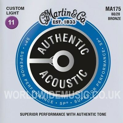 Martin MA175 Authentic Acoustic Guitar Strings 80/20 Bronze Custom Light 11 - 52