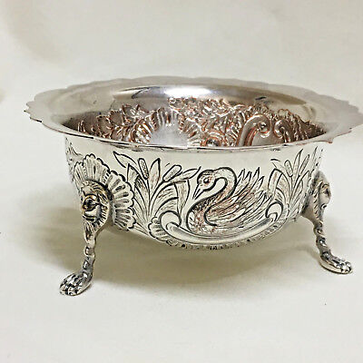 Barker Ellis Silverplate Footed Small Bowl Compote Zoomorphic Swan Fox Lion Feet