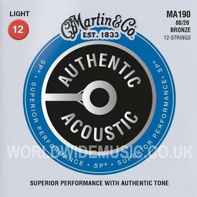 Martin MA190 Acoustic Guitar Strings  Bronze  Light Gauge  12 STRING SET 12 - 54