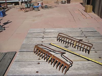 Vintage Rusted **14-Tine Prong Claw** Farm Garden Rake Head Tool  Set of 2