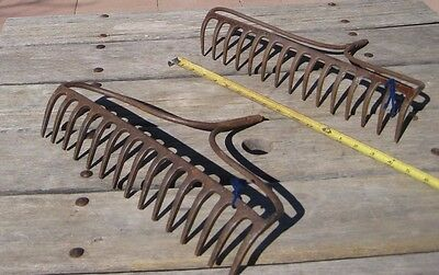 Vintage Rusted *** 15 - Tine Prong Claw *** Farm Garden Rake Head Tool  Set of 2