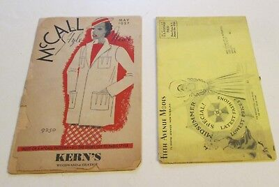 2 Vintage 1930's Fashion Catalogs Magazines McCall Fifth Avenue Modes Clothing