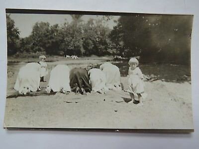 RPPC Postcard Old Fashioned Picnic On Riverbank Fat Women's Behinds Comic #4690