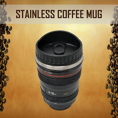 Camera Lens Coffee Cup 24-105 Travel Mug Thermos Stainless Steel Leak-Proof Lid