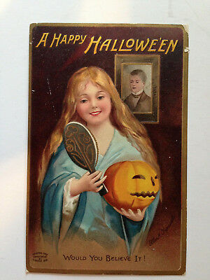 "Ellen Clapsaddle, Halloween ""would You Believe It"" Garre 1909  Postcard"
