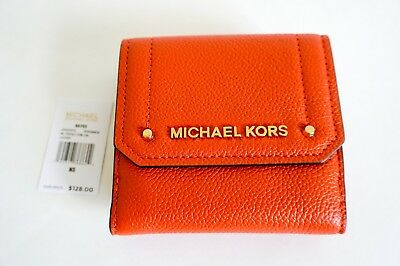 16a6bb6c3809 NWT Michael Kors Hayes Medium Trifold Coin Case Leather Wallet Orange  Persimmon