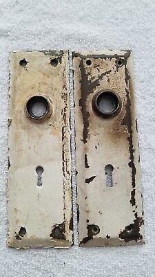 2 Brass Antique Vintage Door Knobs Backplates Hardware Salvage - Many Available!