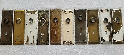10 Brass Antique Vintage Door Knobs Backplates Hardware Salvage  Many Available!