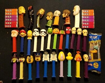 30 Vintage/Newer PEZ Candy Dispenser Toy LOTR Santa Star Wars Mario Spiderman