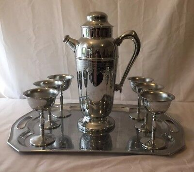 Vtg Silver Chrome Tall Cocktail Martini Shaker, Goblets, Tray Art Deco Etched