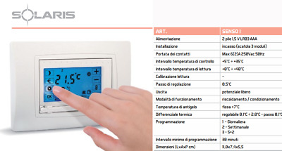 Solaris Grasslin Senso I  Cronotermostato Touch Screen Da Incasso