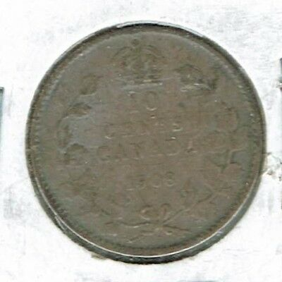 1908 Canadian Circulated Business Strike Silver Ten  Cent Coin!