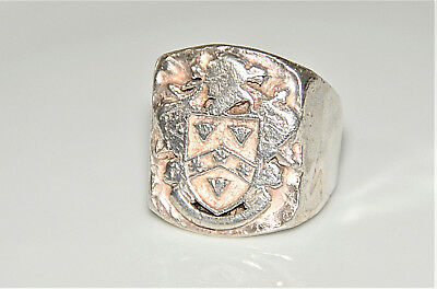 ANTIQUE STERLING SILVER CREST RING - Huge Ring With Hallmarks - Size 13.5