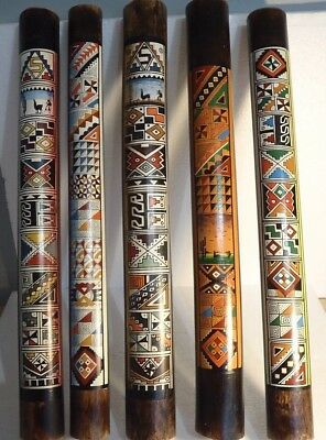 HAND PAINTED TRADITIONAL RAINSTICK  FROM PERU 50 cm